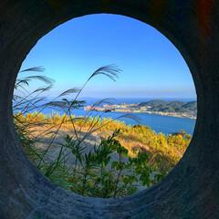 アンティークフレームみたい/火の山公園/史跡/おでかけ/次のコンテストはコレだ! 砲台跡の穴から眺めた関門海峡。  テーマ…