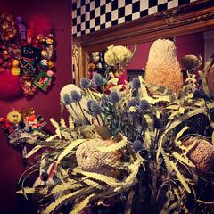 エリンジウム/バンクシア/花のある暮らし/暮らし/リビングあるある バンクシアとエリンジウムを飾っています。…