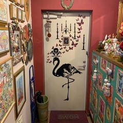 ウォールステッカー/セルフペイントの壁/雑貨/インテリア/イケア/住まい/... 私のお気に入りの玄関。 ドアにはフランス…