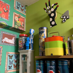 セルフペイントの壁/アートのある暮らし/アート/LIMIAインテリア部/キッチン雑貨/収納/... わが家の元気が出るビタミンキッチンです。…