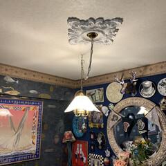 セルフペイントの壁/インテリア/家具/住まい/はじめてフォト投稿/輸入壁紙/... おはようございます。 リビングのペンダン…