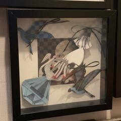 セルフペイントの壁/アート/アートのある暮らし/フレーム/オーナメント/コラージュ/... お気に入りの自作のコラージュアート作品。…