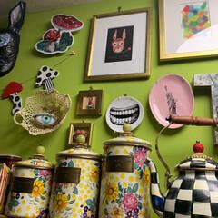 セルフペイントの壁/LIMIAインテリア部/キッチン雑貨/雑貨/DIY/暮らし/... 雑貨大好き。💕 キッチンにも可愛い物を!…