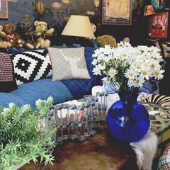 花瓶/LIMIAインテリア部/雑貨/暮らし/住まい/ブルー ガラスの花瓶は友人たちから結婚祝いに頂い…(1枚目)