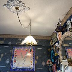 シーリングメダリオン/Re壁/LIMIAインテリア部/雑貨/LIMIA手作りし隊/DIY/... 自分で貼った壁紙と自分で取り付けたシーリ…