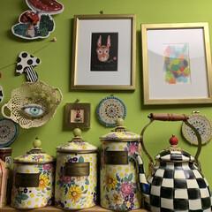 アートのある暮らし/セルフペイントの壁/LIMIAインテリア部/キッチン雑貨/収納/雑貨/... キッチンの見張り番のお目目ちゃん。お洒落…