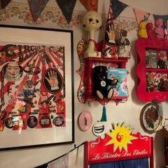 ポスター/ガーランド/ウォールデコレーション/寝室/雑貨/住まい/... ポスターのある部屋。 寝室のウォールデコ…