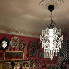 シーリングメダリオン/IKEAのシャンデリア/雑貨/住まい/イケア/暮らし/... 寝室の照明はIKEAのシャンデリアをとり…