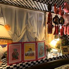 出窓インテリア/寝室/雑貨/住まい/暮らし/我が家の照明 寝室の出窓コーナー。