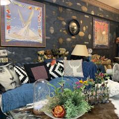 花のある暮らし/リビング/Re壁/LIMIAインテリア部/雑貨/DIY/... 自分で壁紙を貼りました。落ち着いたネイビ…
