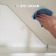 無印良品/フローリング用おそうじクロス/そうじの神様/アルカリ電解水/拭き掃除/洗濯機の棚の拭き掃除/... こんばんは🌃 . . 今日のこそうじは、…(4枚目)
