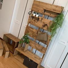 多目的収納ラック/シューズクローク/端材で玄関収納/ヘンリーボーン柄/宅配ボックス大、小/DIY/... 床置きしないでラックに!多目的収納フック…