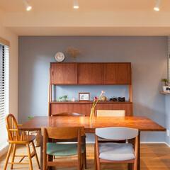 ブルーグレー/壁/塗装/北欧風/北欧テイスト/家具 こだわりのブルーグレーの壁はS様ご自身で…
