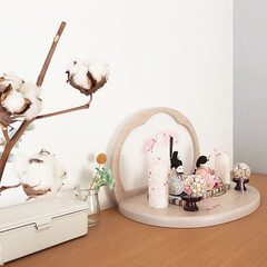 ひな祭り/ひなまつり/お雛様/雛人形/桃の節句/雛祭り/... 優しいお色味の雛人形には、綿の花を合わせ…(1枚目)