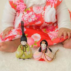 ひな祭り/ひなまつり/お雛様/雛人形/桃の節句/雛祭り/... かわいらしいサイズのお雛様と御内裏様🎎 …(1枚目)