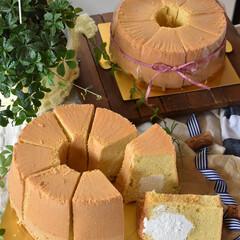 手作りケーキ/手作りおやつ/手作りお菓子/手作りスイーツ 頼まれものシフォンケーキ ✖️2台。 三…(2枚目)