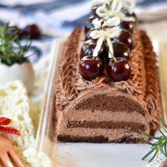 手作りお菓子/手作りスイーツ/手作りおやつ/手作りケーキ ダークチェリーのチョコレートケーキ🍫🍒(2枚目)