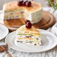 手作りスイーツ/手作りケーキ/手作りおやつ/手作りお菓子 昨日のおやつ。 フルーツミルクレープ。(2枚目)