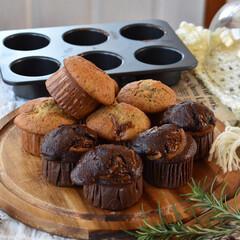 手作りお菓子/手作りスイーツ/手作りおやつ/手作りケーキ 今日のおやつ。 マフィン2種。 昨日の余…(4枚目)