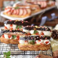 手作りお菓子/手作りスイーツ/おうちカフェ/手作りおやつ/手作りケーキ エクレア。  #エクレア #おうちおやつ…(1枚目)