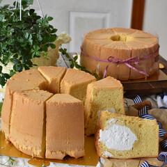 手作りケーキ/手作りおやつ/手作りお菓子/手作りスイーツ 頼まれものシフォンケーキ ✖️2台。 三…(1枚目)