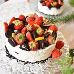 デコレーションケーキ/手作りスイーツ/手作りお菓子/手作りおやつ/手作りケーキ/ハンドメイド/... 今日のおやつ。 オレオレアチーズケーキ。