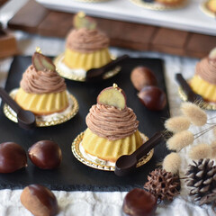 手作りおやつ/手作りケーキ/手作りお菓子/手作りスイーツ 今日のおやつ。 ミニクグロフでモンブラン。(2枚目)