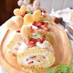 手作りケーキ/手作りおやつ/手作りお菓子/手作りスイーツ 今日のおやつ。 ビスキュイロール。 中は…(3枚目)