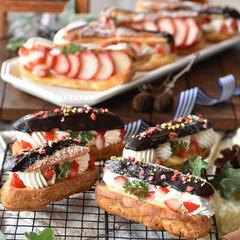手作りお菓子/手作りスイーツ/おうちカフェ/手作りおやつ/手作りケーキ エクレア。  #エクレア #おうちおやつ…(2枚目)
