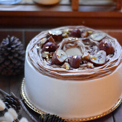 手作りおやつ/手作りケーキ/手作りお菓子/手作りスイーツ モンブランシフォンケーキ 。