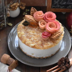 手作りケーキ/手作りお菓子/手作りスイーツ/お菓子作り りんごのヨーグルトムースケーキ。(4枚目)