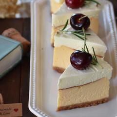 お菓子作り/手作りスイーツ/おうちカフェ/手作りお菓子/手作りケーキ ダブルチーズケーキ。(3枚目)