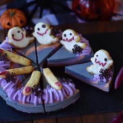 手作りスイーツ/手作りお菓子/手作りケーキ/ハロウィンスイーツ 今日のおやつ。 ハロウィン仕様のレアチー…