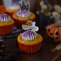 手作りケーキ/手作りおやつ/手作りお菓子/手作りスイーツ おまけのカップケーキ。 昨日余ったかぼち…(2枚目)