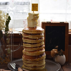 お菓子作り/おうちカフェ/手作りお菓子/手作りスイーツ 土曜のあさごはーーーーーーん。 パンケー…(1枚目)