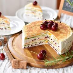 手作りスイーツ/手作りケーキ/手作りおやつ/手作りお菓子 昨日のおやつ。 フルーツミルクレープ。(1枚目)
