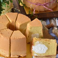 手作りケーキ/手作りおやつ/手作りお菓子/手作りスイーツ 頼まれものシフォンケーキ ✖️2台。 三…(3枚目)