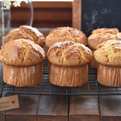 手作りスイーツ/お菓子作り/手作りお菓子/手作りケーキ バニラマフィン。(1枚目)