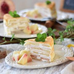 ポケットマルシェ/手作りケーキ/手作りおやつ/手作りお菓子/手作りスイーツ/クレープ 今日のおやつ。 白桃のミルクレープ。