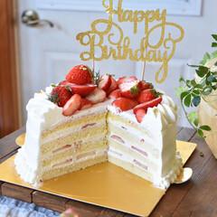 手作りおやつ/手作りお菓子/手作りケーキ/手作りスイーツ ケーキ断面。(2枚目)