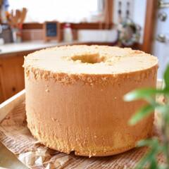 手作りおやつ/手作りスイーツ/手作りお菓子/手作りケーキ 今日のおやつ。 三温糖のシフォンケーキ。(2枚目)