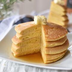手作りスイーツ 土曜の朝ごはん。 豆乳使ったパンケーキ。 (2枚目)