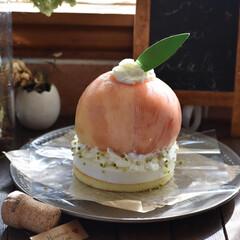 手作りケーキ/手作りお菓子/手作りスイーツ/お菓子作り/おうちカフェ まるごと桃のダブルチーズケーキ。(1枚目)