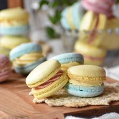おうちごはん/手作りケーキ/手作りお菓子/手作りスイーツ/おうちカフェ 春色マカロン。 クリームはいちごクリーム…(3枚目)