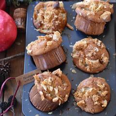 手作りケーキ/手作りお菓子/手作りおやつ/手作りスイーツ/おうちごはん/おうちカフェ 今日のおやつ。 アップルパイマフィン🍎🥧…