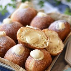 手作りパン/手作りスイーツ/手作りお菓子/手作りおやつ クリームドーナツ。 ディプロマットクリー…(3枚目)
