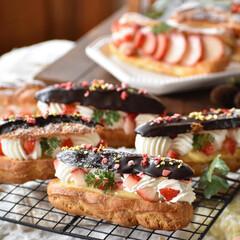 手作りお菓子/手作りスイーツ/おうちカフェ/手作りおやつ/手作りケーキ エクレア。  #エクレア #おうちおやつ…(3枚目)
