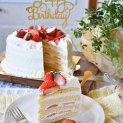 手作りおやつ/手作りお菓子/手作りケーキ/手作りスイーツ ケーキ断面。