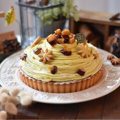 手作りおやつ/手作りケーキ/手作りお菓子/手作りスイーツ いモンブランタルト。(2枚目)