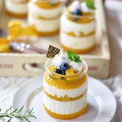 手作りスイーツ/手作りケーキ/手作りおやつ/手作りお菓子 今日のおやつ。 マンゴーとヨーグルト風味…